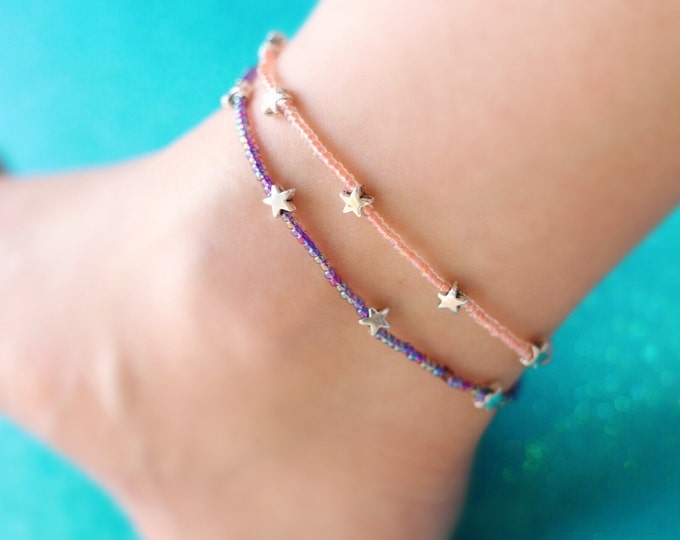 Glass Beaded Stars Anklets