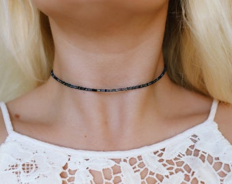 Midnight Seed Beaded Choker Necklace