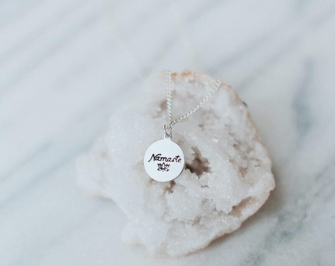 Dainty Hand Stamped Namaste & Lotus Flower Necklace