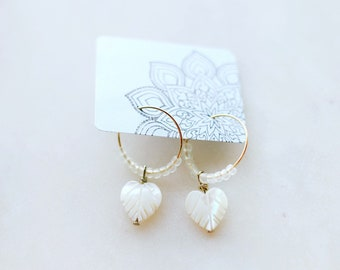 Monstera Shell & Sea Glass Beaded Mini Hoop Earrings