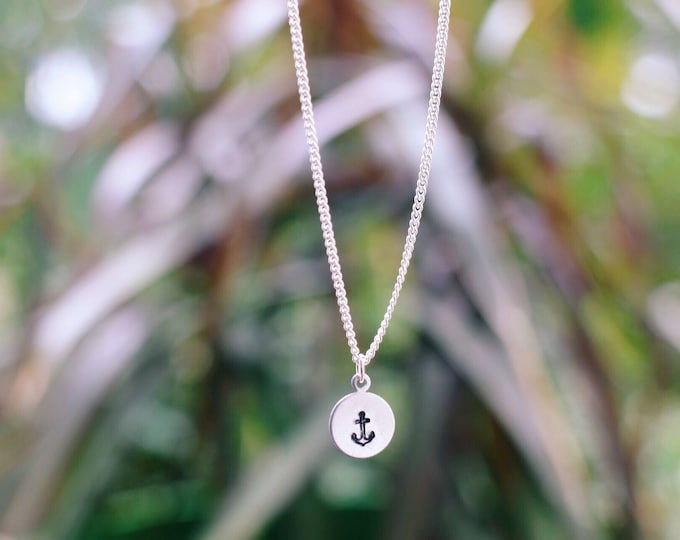 Dainty Anchor Hand Stamped Necklace / Anchor Jewelry / Boho Style / Summer Necklace