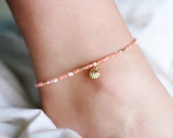 Sunkissed Peach Sea Shell Beaded Anklet/Bracelet