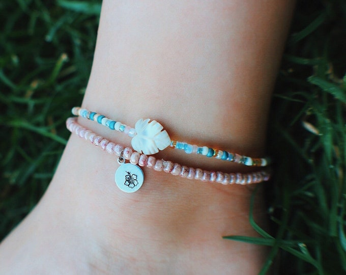 Pink Marbled Hand Stamped Hibiscus Beaded Anklet
