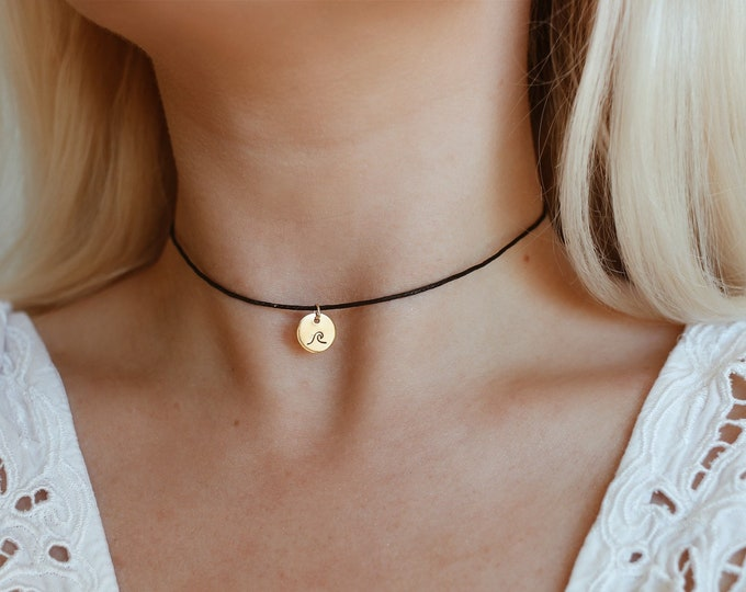 Mini Gold Wave Coin Cotton Choker Necklace