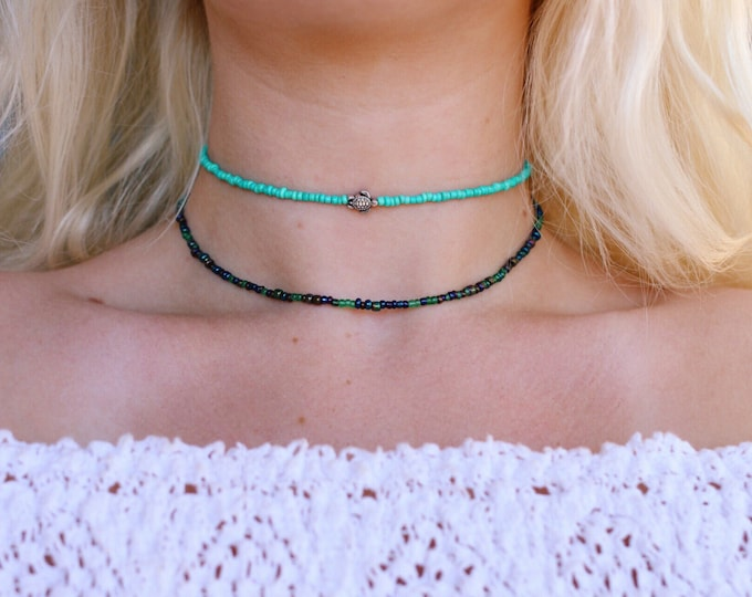 Tiny Sea Turtle Glass Beaded Choker, Seed Beads, Beach Jewelry, Gift Ideas for Her