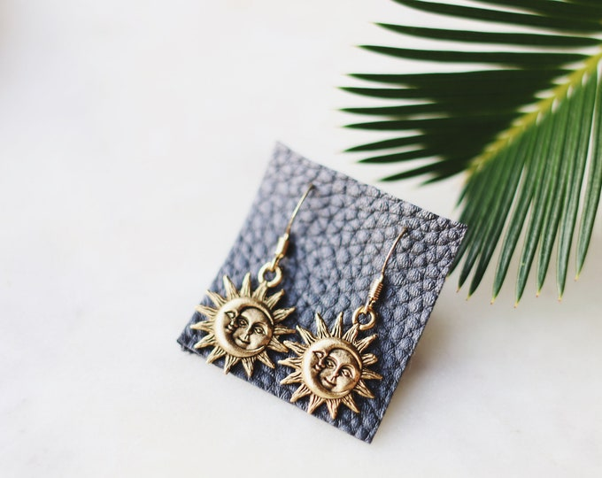Gold Celestial Sun & Moon Earrings