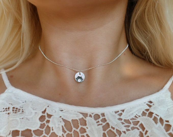 Sunrise Hand Stamped Choker Necklace