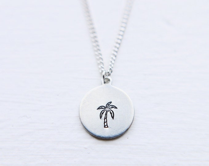 Dainty Hand Stamped Palm Tree Necklace