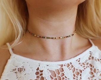 Earthly Crisp Autumn Seed Beaded Choker Necklace
