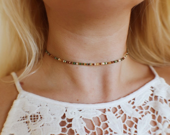 Earthly Crisp Autumn Seed Beaded Choker Necklace