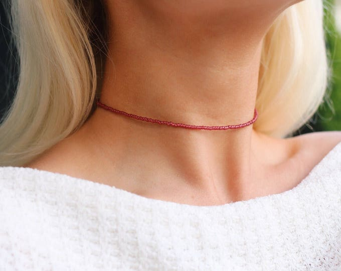 Pomegranate Opal Beaded Choker Necklace