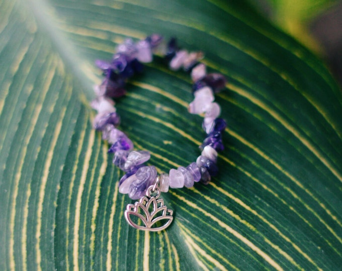 Amethyst Glass Chip Bracelet/Anklet with Lotus Flower Charm
