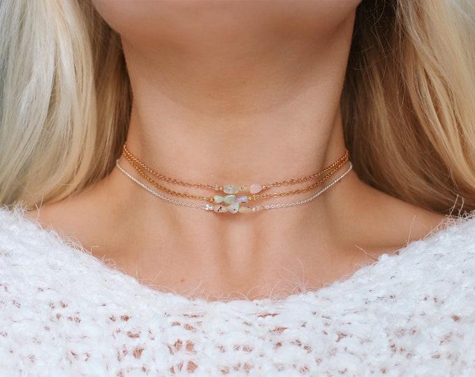 Ethiopian Opal Nugget Choker Necklaces