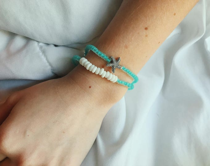 Beachcomber Sea Glass & Starfish Beaded Bracelet Set