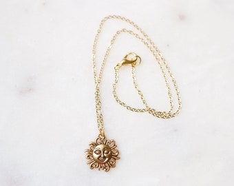 Dainty Golden Winking Sun Necklace