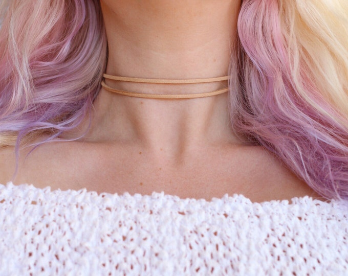 Boho Double Vegan Suede Choker Necklace (More colors!)