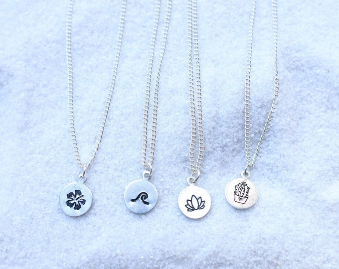 Dainty Hand Stamped Necklaces / Beach Jewelry / Wave Necklace / Lotus Flower Necklace / Cactus Necklace / Hibiscus Necklace