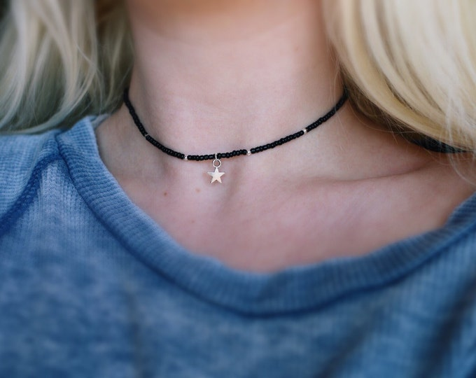 Glass Beaded Star Gazing Choker Necklace