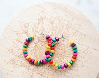 Rainbow Coconut Wood Hoop Earrings