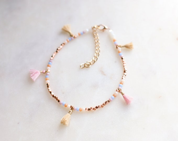 Bohemian Tiny Tassel Beaded Anklet