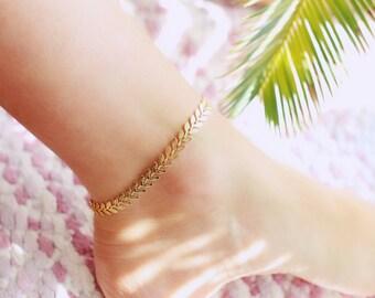 Golden Leaf Chain Anklet