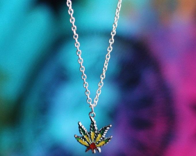 Handpainted Weed Leaf Necklace