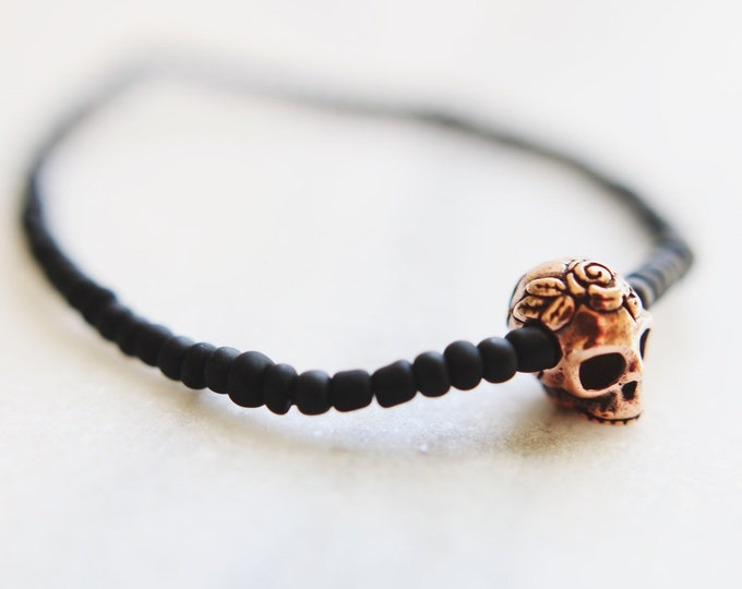 Copper Skull & Roses Matte Black Beaded Bracelet