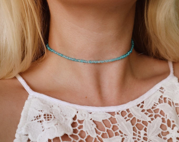 Ocean Luster Seed Beaded Choker Necklace