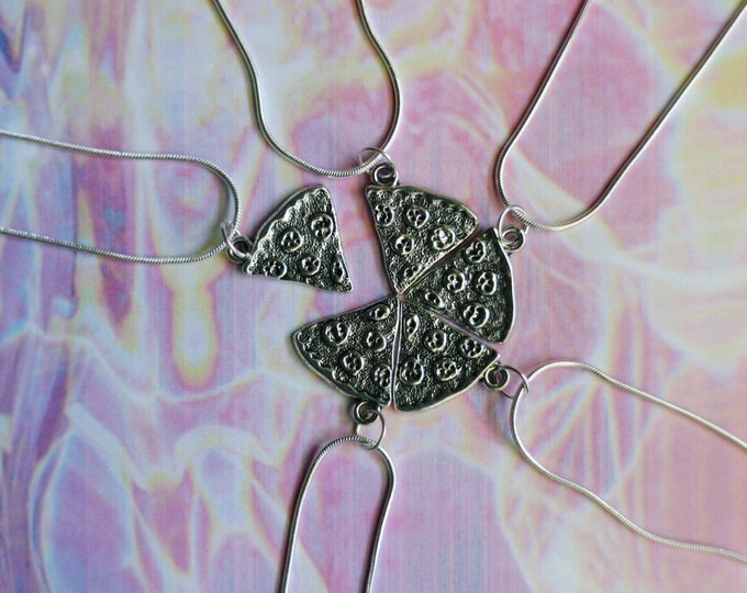 Pizza Friendship Necklaces with Silver Chains