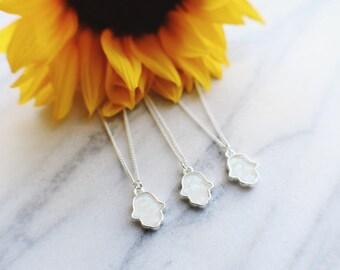 Dainty White Opal Hamsa Hand Necklace
