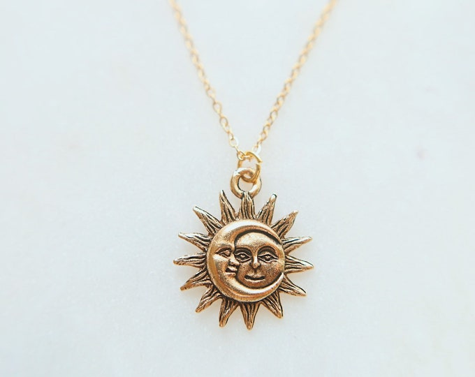Dainty Gold Sun & Moon Necklace