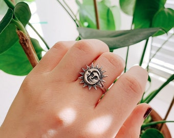 Sun and Moon Adjustable Silver Ring, Midi Rings, Silver Plated, Celestial Rings