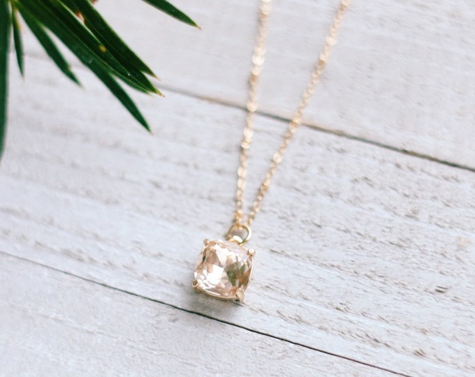 Pink Champagne Bezel Satellite Necklace