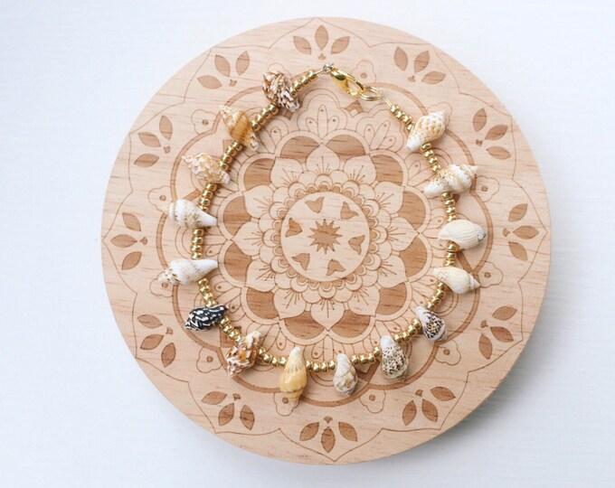 Boho Metallic Gold Sea Shell Anklet