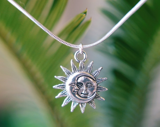 Sun & Moon Silver Plated Necklace.