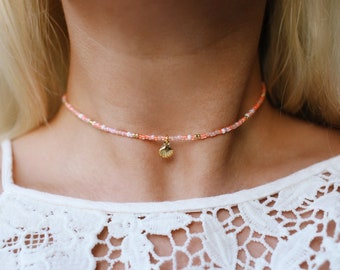 Sunkissed Peach Sea Shell Beaded Choker Necklace