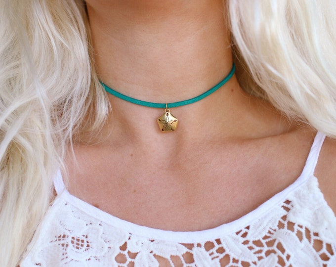 Vegan Suede Mermaid Sand dollar Choker Necklace