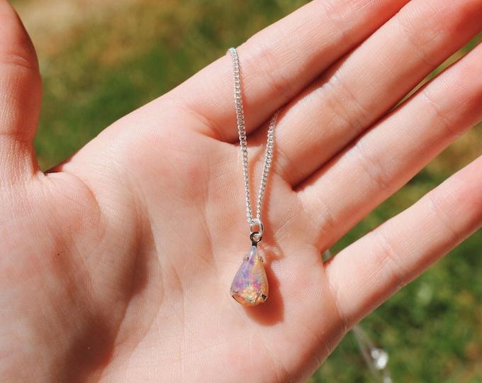 Fire Opal Tear Drop Dainty Necklace