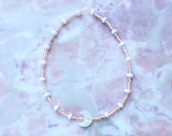 Crescent moon sea shell coconut and rose gold beaded bracelet or anklet