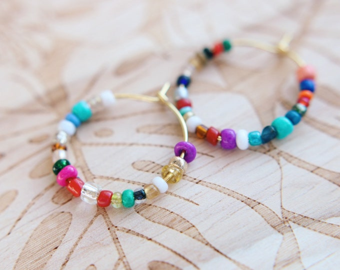 Mini Boho Girl Beaded Hoop Earrings