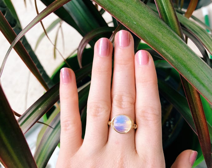 Iridescent Opalite Wire Wrapped Ring