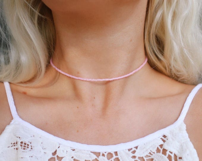 Baby Pink Opal Beaded Choker Necklace