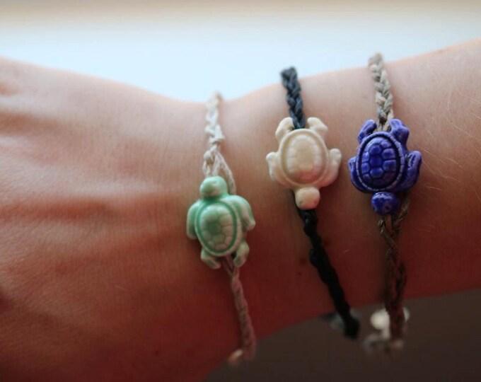 Ceramic Sea Turtle with Braided Hemp Bracelets or Anklets