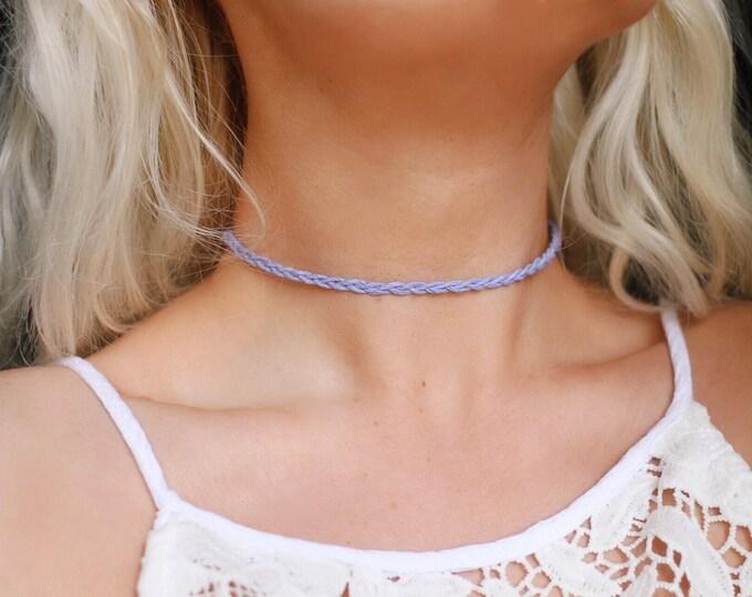 Lilac Organic Hemp Braided Choker Necklace