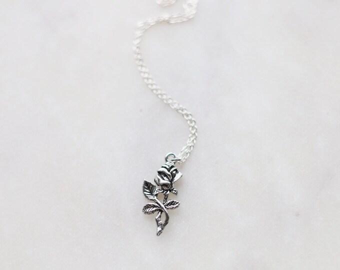 Dainty Rose Stem Necklace