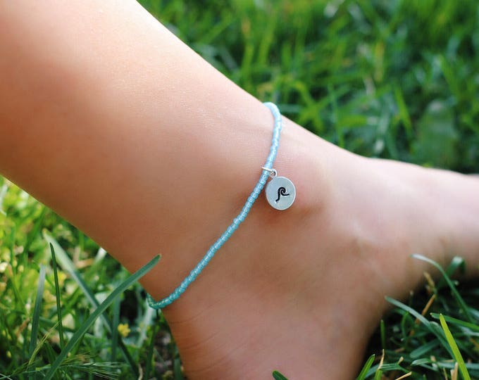 Ocean Wave Anklet, Blue Opal Beaded Wave Stamped Anklet, Beach Jewelry