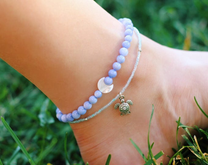Crescent Moon Sea Shell Anklet, Sterling Silver Anklet, Beach Jewelry, Beaded Anklet