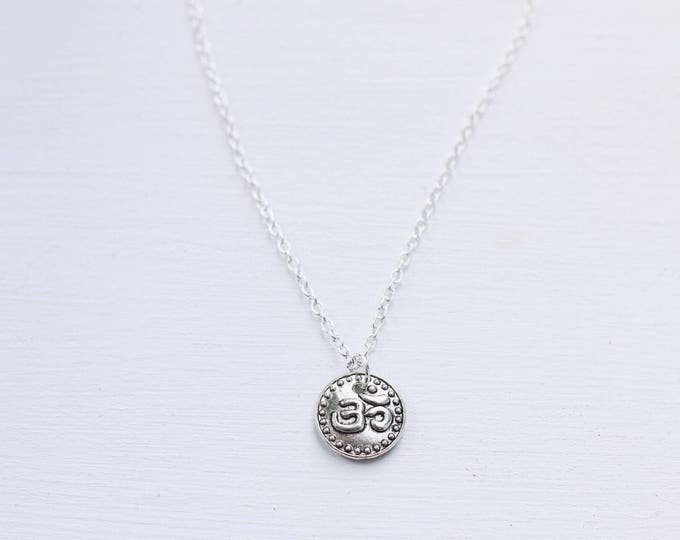 Silver Coin Om Dainty Necklace