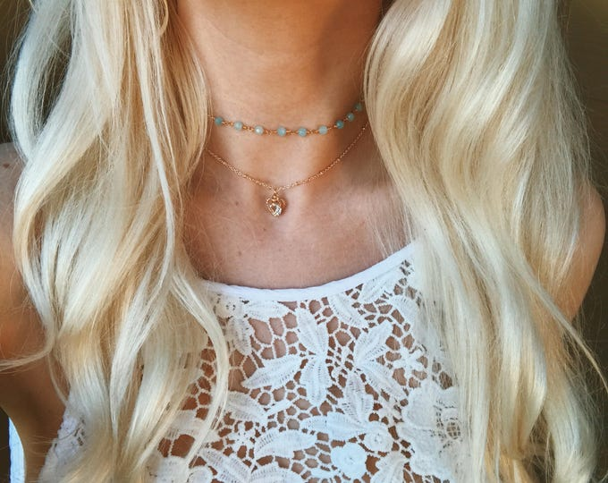 Dainty Golden Heart Gem Satellite Chain Choker Necklace