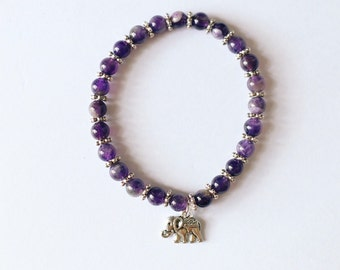 Amethyst Glass Beaded Elephant Charm Bracelet